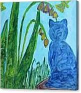 Cat And Butterflies Canvas Print
