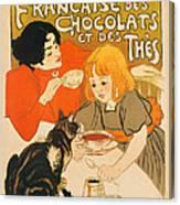 Cat Enjoys Chocolates And Tea Canvas Print