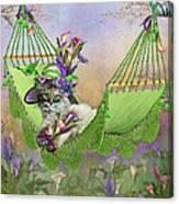 Cat In Calla Lily Hat Canvas Print