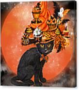 Cat In Halloween Cupcake Hat Canvas Print