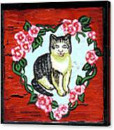 Cat In Heart Wreath 1 Canvas Print