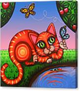 Cat In Reflection Canvas Print