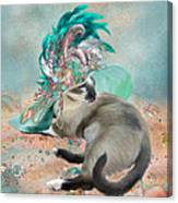 Cat In Summer Beach Hat Canvas Print