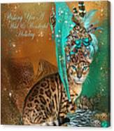 Cat In The Leopard Trim Santa Hat Canvas Print
