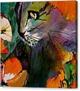 Cat In The Poppies Canvas Print
