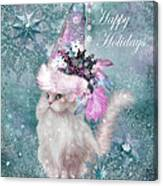 Cat In The Snowflake Santa Hat Canvas Print