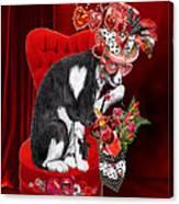 Cat In The Valentine Steam Punk Hat Canvas Print