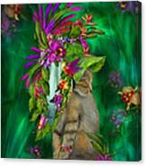 Cat In Tropical Dreams Hat Canvas Print