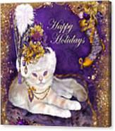 Cat In Victorian Santa Hat Canvas Print