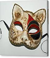 Cat Masquerade Mask On White Canvas Print