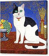 Cat On Thanksgiving Table Canvas Print