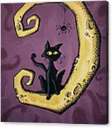 Cat On The Moon Canvas Print