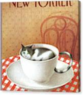 Cat Sits Inside A Coffee Cup Canvas Print