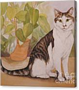 Cat With Plant Canvas Print