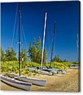 Catamaran Sailboats On The Beach At Muskegon No. 601 Canvas Print