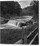 Cataract Falls Indiana Black N White Canvas Print