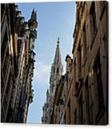 Catching A Glimpse Of Grand Place Brussels Belgium Canvas Print