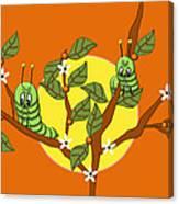 Caterpillars In The Orange Tree Canvas Print