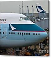 Cathay Pacific 747 Jumbo Jet Parked At Hong Kong Airport Canvas Print