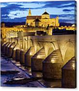 Cathedral Mosque And Roman Bridge In Cordoba Canvas Print