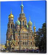 Cathedral Of Christ's Resurrection On Spilled Blood Canvas Print