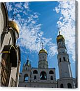 Cathedral Of The Dormition And Ivan The Great Belfry Of Moscow Kremlin Canvas Print
