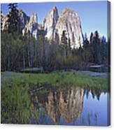 Cathedral Rock And The Merced River Canvas Print