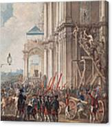 Catherine II On The Balcony Of The Winter Palace, Greeted By Guards And People On The Day Canvas Print