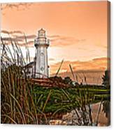Cattails And Lighthouse In Indiana Canvas Print