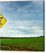 Caution Open Range Canvas Print
