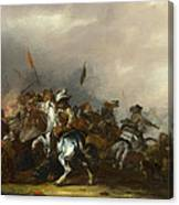 Cavalry Attacked By Infantry Canvas Print