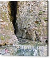 Cave Entrance And Mossy Waterfall At Indian Run 1 Canvas Print