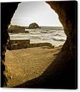 Cave View Of Rocks Near San Francisco Ca Cliff House Canvas Print