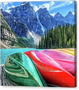 Cayaks On The Moraine Lake Canvas Print