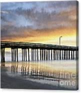 Cayucos Pier Reflected Impasto Canvas Print