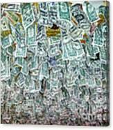 Ceiling Of Dollar Bills  Canvas Print