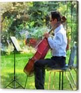 Cellist In The Garden Canvas Print