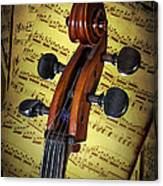 Cello Scroll With Sheet Music Canvas Print