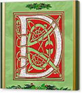 Celtic Christmas D Initial Canvas Print