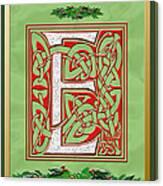 Celtic Christmas E Initial Canvas Print