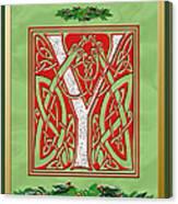 Celtic Christmas Initial Y Canvas Print
