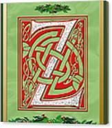 Celtic Christmas Initial Z Canvas Print
