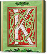 Celtic Christmas K Initial Canvas Print