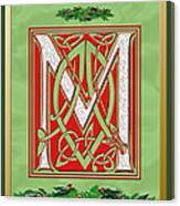 Celtic Christmas M Initial Canvas Print