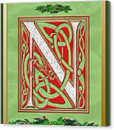 Celtic Christmas N Initial Canvas Print