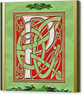 Celtic Christmas P Initial Canvas Print