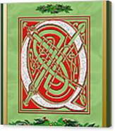 Celtic Christmas Q Initial Canvas Print