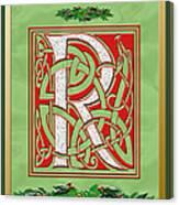 Celtic Christmas R Initial Canvas Print