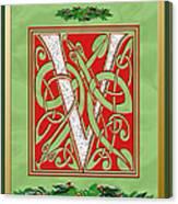 Celtic Christmas V Initial Canvas Print