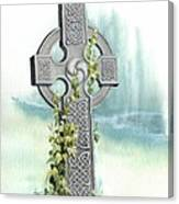 Celtic Cross With Ivy II Canvas Print